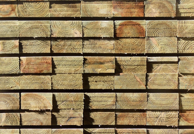 Treated Timber Boards Stack